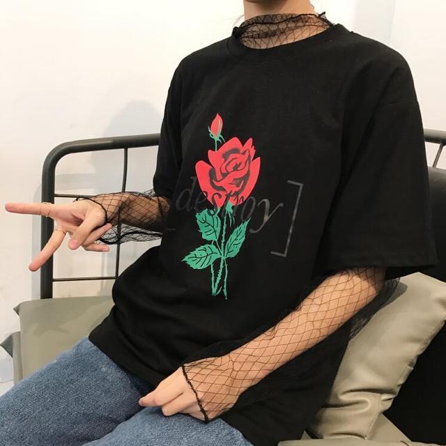 Primavera e verão nova versão Coreana mulheres Harajuku subiu de impressão solto camisa de manga curta T feminino