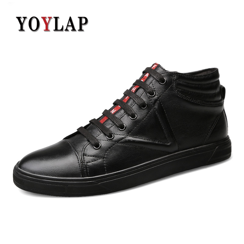 Big Size 38-46 New 2018 Spring Autumn 100% Genuine Leather Shoes Men High Top Shoes Men White Black Luxury Mens Shoes Casual 2016 new men casual shoes fashion white black high top spring autumn winter pu men s classic leather shoes for men