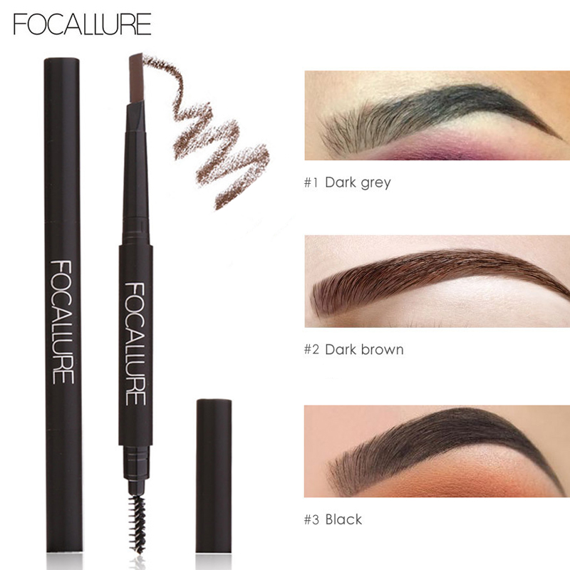 FOCALLURE Double-end Waterproof Eyes Pencil Automatic Eyebrow Pencils Natural Easy to Wear Pigments Eye Brow Paint Cosmetics