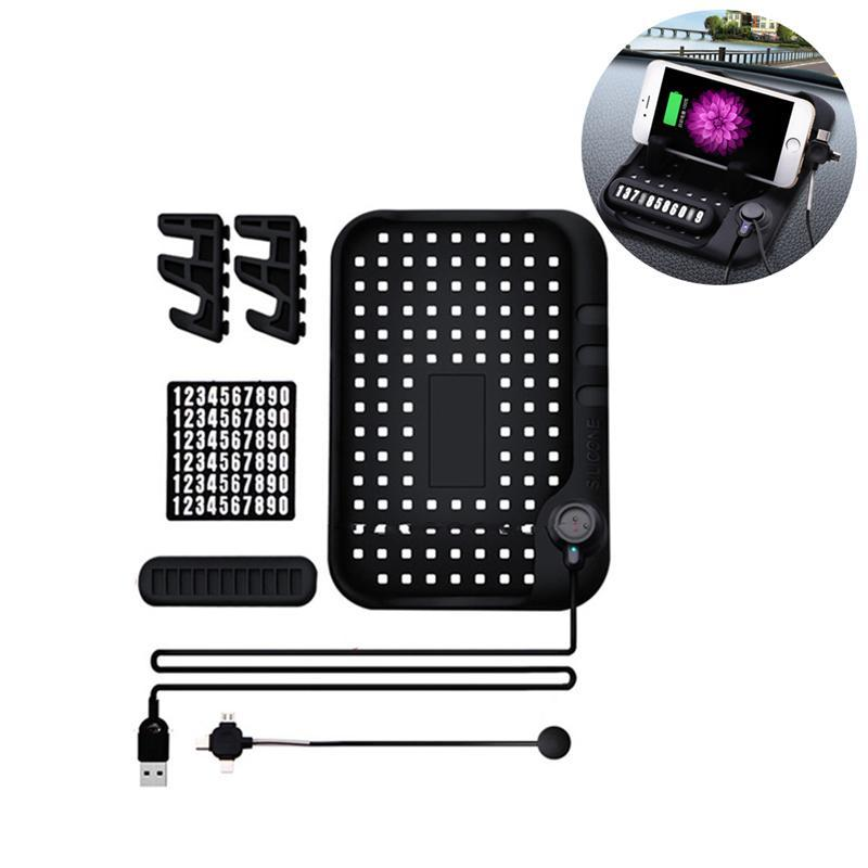 Suporte para Carro durável Não-slip Mat Traço Painel USB Stand Carregador de Montagem