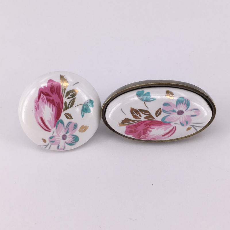5pcs Ceramic Door Handle Knob European Cupboard Cabinet Handles Wardrobe Handle Tulip Flower Drawer Pull multi color flower rose ceramic kitchen cupboard cabinet door knob kid s room wardrobe drawer pull handle knob