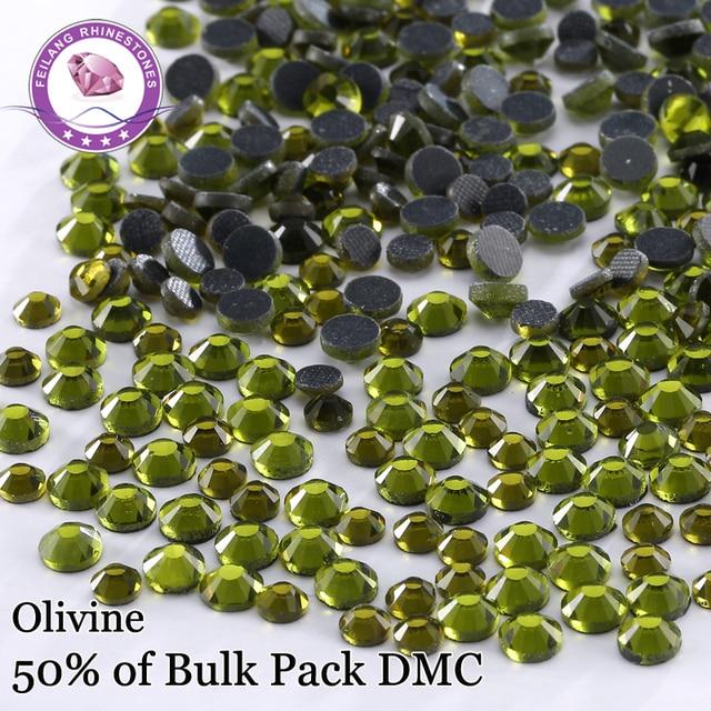 New Arrival ! Shiny Olivine DMC Hotfix Rhinestones Iton On flatback Dressed Accessories DIY Decoration Iron On Stones