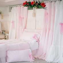 Quality pink white princess lace curtain for living room window curtains wedding decoration sweet bow volie