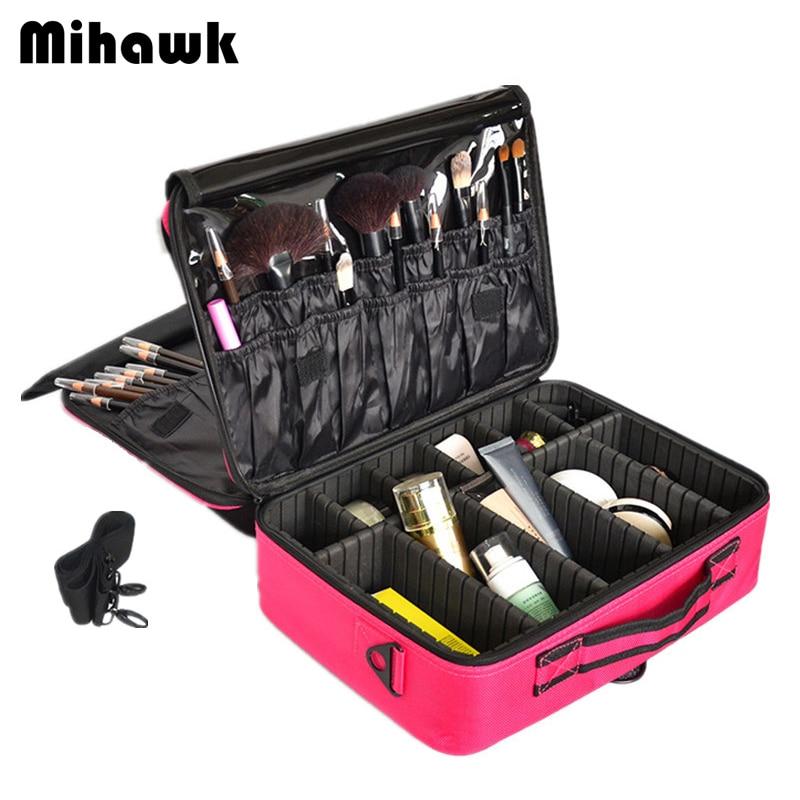 Mihawk professionnel Vanity cosmétique sac femmes hommes maquillage étuis grande capacité trousse de toilette voyage valises organisateur accessoire