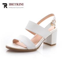 ФОТО ribetrini 2018 new sandals of high quality cowhide genuine leather summer shoes women square heels woman shoes big size 33-43