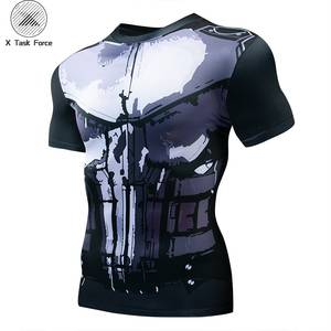 New 2019 Compression Shirt skull 3D Printed T shirts Men Cosplay Costume Short Sleeve Tops For Male Clothing Black Friday
