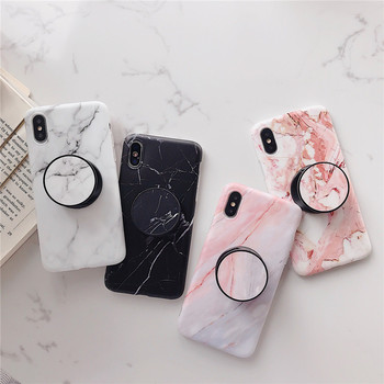 Marble Flexible Stand Holder Case For iPhone XS XS Max X 8 7 6S Plus For Huawei P20 For Samsung S10 Soft IMD Phone Cover
