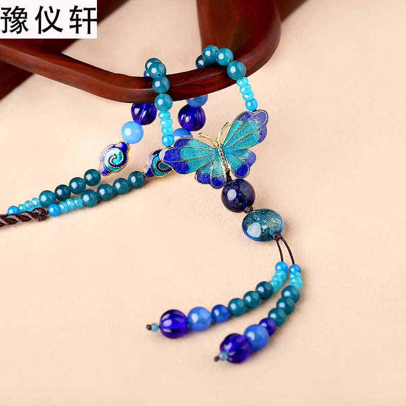 Jade ornaments retro long necklace accessories cloisonne pendant blue pendant female retro free shippingJade ornaments retro long necklace accessories cloisonne pendant blue pendant female retro free shipping