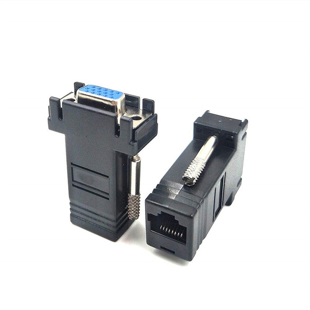 1 пара VGA Extender Женский / Мужской / Женский LAN Cat5 Cat5e / 6 RJ45 Ethernet-преобразователи