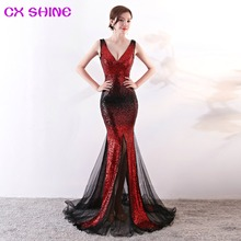 Evening dresses CX SHINE Bling red gold Gradient color mermaid trumpet sequin lace long prom party dress robe de soiree Vestidos