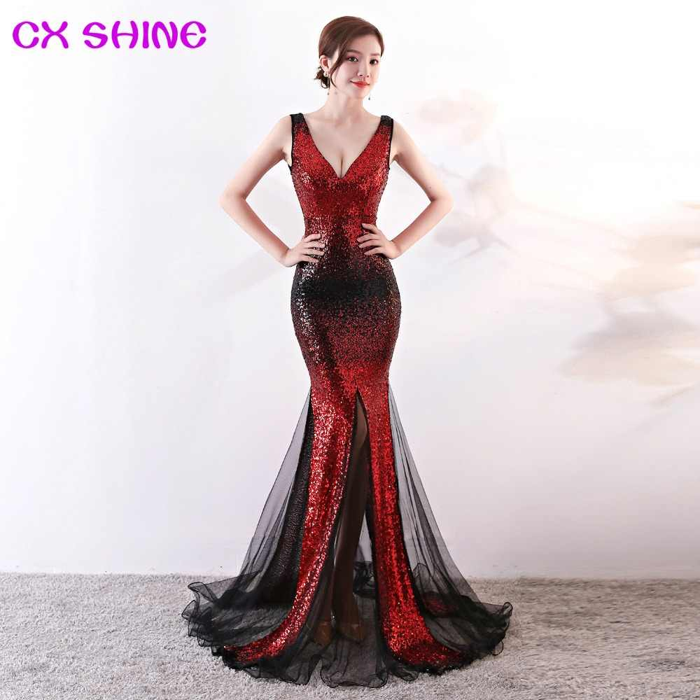 679e61a96876 Evening dresses CX SHINE Bling red gold Gradient color mermaid trumpet  sequin lace long prom party