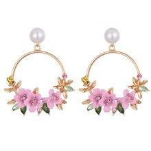 VKME – boucles d'oreilles à fleurs pour femmes, élégantes, grande fleur ronde, imitation de perle, nouvelle collection 2019