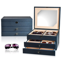 LUXURY 24 sunglasses box PU leather packing box for 24 glasses storage case New designs with mirror inside