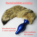 3 colors Medium fox tail anal plug Metal anal dildo Anal Butt Plug erotic toys anal penis toys gay sex Adult Sex Toys For Woman