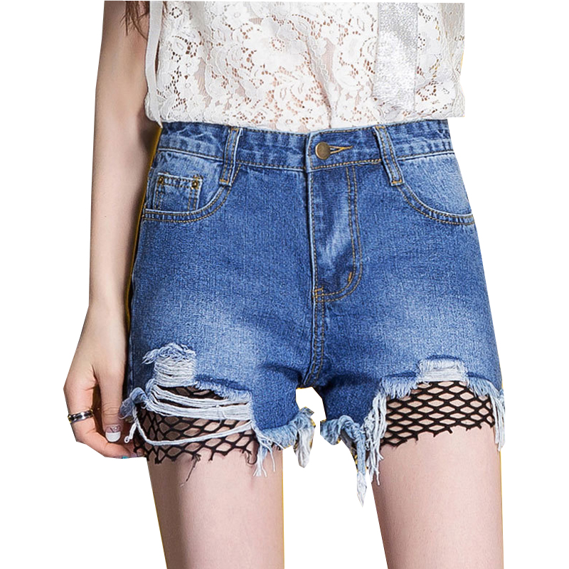 {Guoran} Ripped Denim Shorts Women Vintage All-match Mesh Patchwork Hole Blue Short Jeans Casual 2017 Summer Casual Mini Shorts