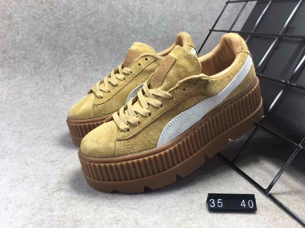 PUMA FENTY Suede Cleated Creeper Womens First Generation Rihanna Classic Basket Suede Tone Simple Badminton Shoes
