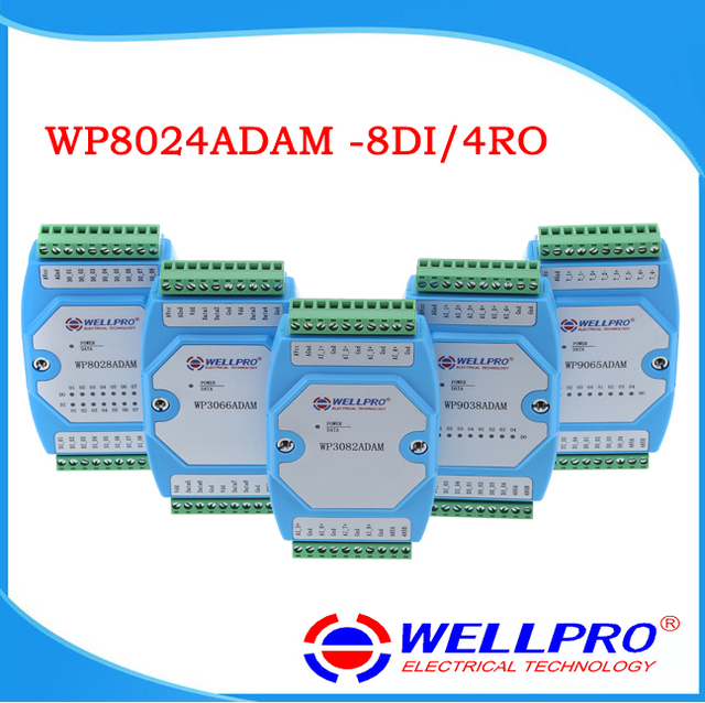 WP8024ADAM ( 8DI / 4RO )  Digital input and Relay output modules / Optocoupler isolated / RS485 MODBUS RTU communications
