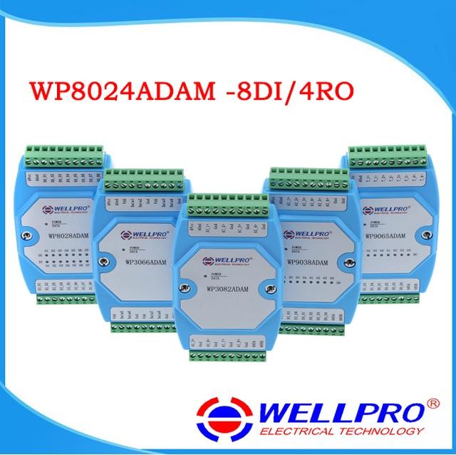 WP8024ADAM (8DI/4RO) דיגיטלי קלט פלט ממסר מודולים/מצמד אופטי מבודד/RS485 MODBUS RTU תקשורת