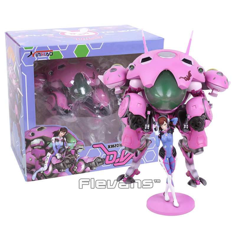Hot Game Hero Hana Song DVA D.VA with Mecha PVC Figure Collectible Model Toy 24cm new ow heroes dva hana song mecha d va pvc figure statue model gift toy collectibles model doll 480