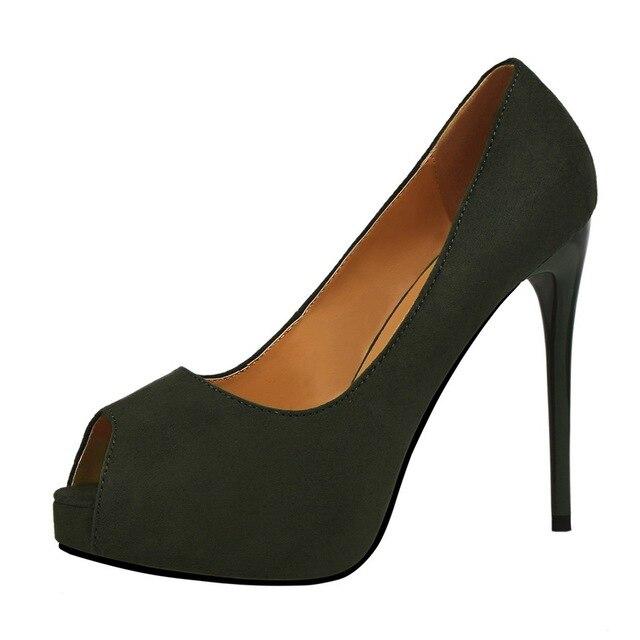 New 2018 Peep Toe High Heels 12CM Summer Fashion Thin Heel