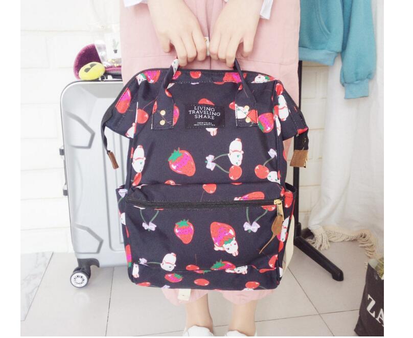 Harajuku Backpack Girl Cute Cartoon Style Backpack Kawaii Strawberry Rabbit Leisure Backpack School Bag Q015