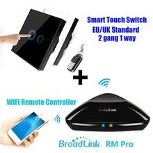 Broadlink rm2 rm pro + rf сенсорный настенный выключатель 2 gang ес/великобритания переключатель беспроводной универсальный wi-fi умный дом пульт дистанционного управления wi-fi + ir + рф