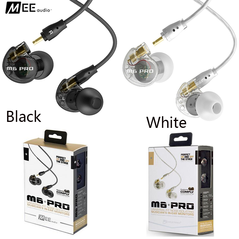 Black & white in STOCK! MEE audio M6 PRO Monitors Earphone Noise-Isolating Wired headphones with Detachable Cables pk se535 dhl free 2pcs black white m6 pro universal 3 5mm wired in ear earphone noise isolating musician monitors brand new headphones