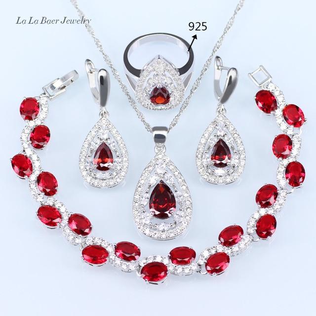 615e7deae82b L   B Niza rojo granate plata cristal blanco boda Juegos de joyería para  las mujeres
