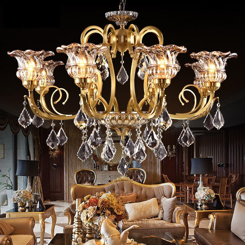 Style Vintage Charm French Empire large crystal chandelier led lights for hotel church living room copper ceiling lamps