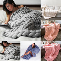100 100cm 80 100cm Hand Chunky Knitted Blanket Thick Wool Bulky Knitting Throw Living Room Or