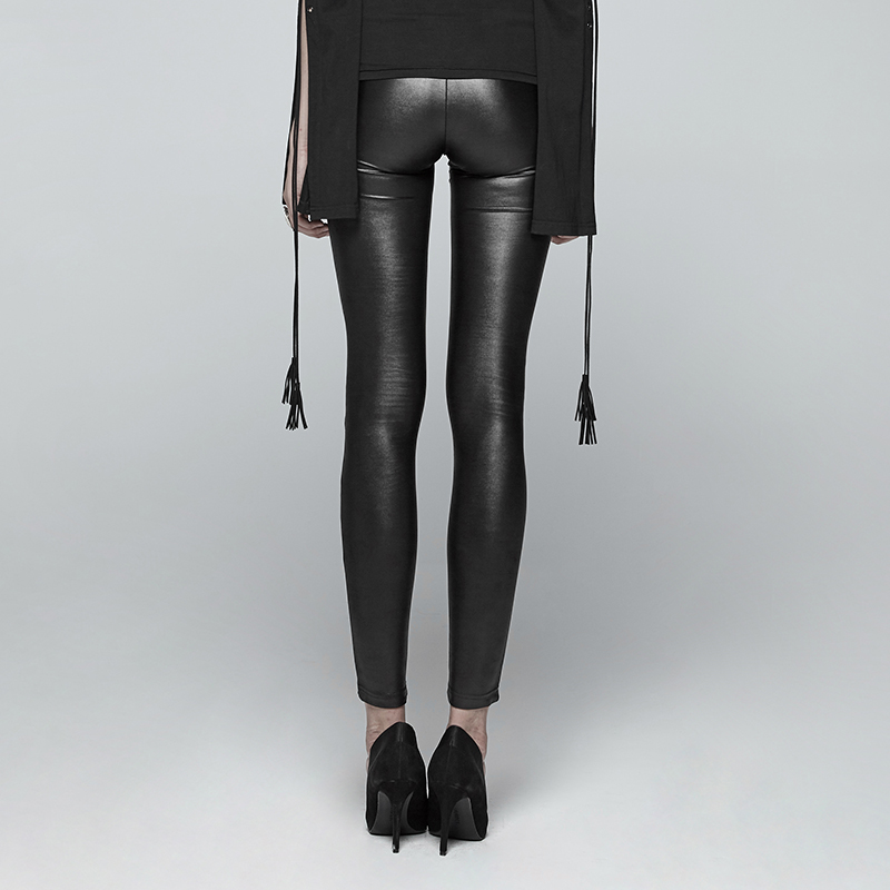 PUNK RAVE Steampunk Gothic Women PU Leather Pants Hollow Out Black Sexy Pants Club Party Women Lace up Skinny Trousers - 4