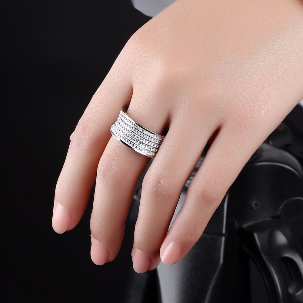 FATE LOVE Luxury Gold Color Full Crystal Rings Titanium Steel ...