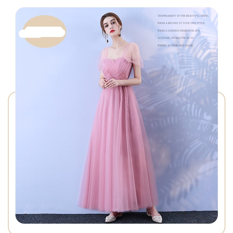 Red Bean Pink Colour Bridesmaid Long Dress Wedding Sister Dress Korean Version Of The Woman Dress