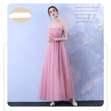 Red Bean Pink Colour Bridesmaid Long Dress Wedding Sister Dress Korean Version of The Woman Dress red bean pink colour bridesmaid dress long dress wedding one shoulder dress back of bandage