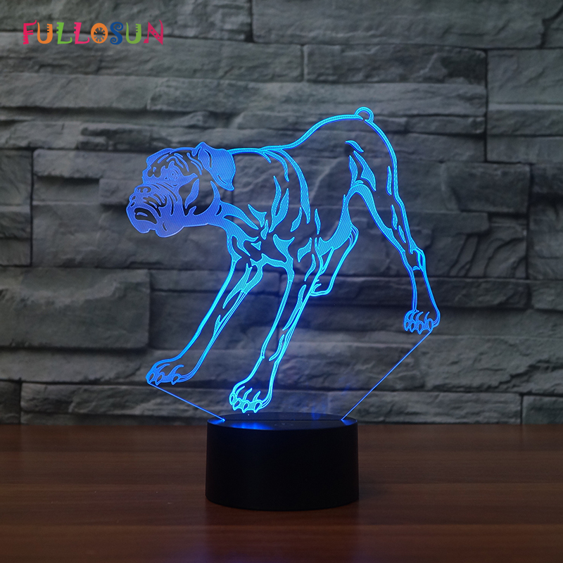 Boxer LED Lamp Colorful Flashing 3D Dog Night Lamp Creative Gift 3D LED USB Light as Kids Room Decoration mipow btl300 creative led light bluetooth aromatherapy flameless candle voice control lamp holiday party decoration gift