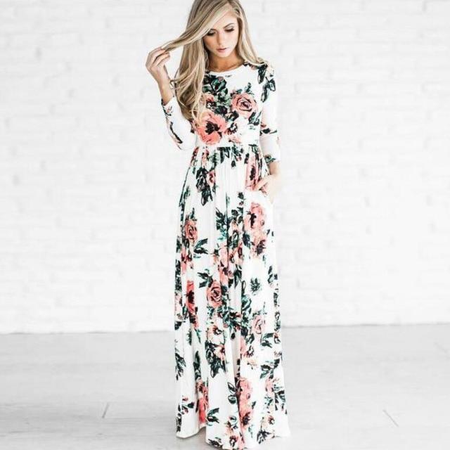 4b27ce0d3 2018 moda mujer verano otoño vestido largo estampado de manga larga ropa  femenina cuello redondo Vintage