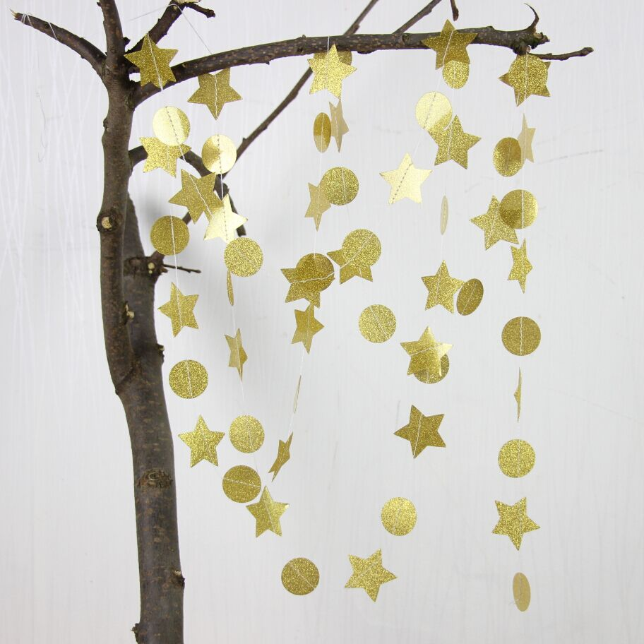 5pcs Gold Garland Diy Photo Backdrops Star Decor For Birthday