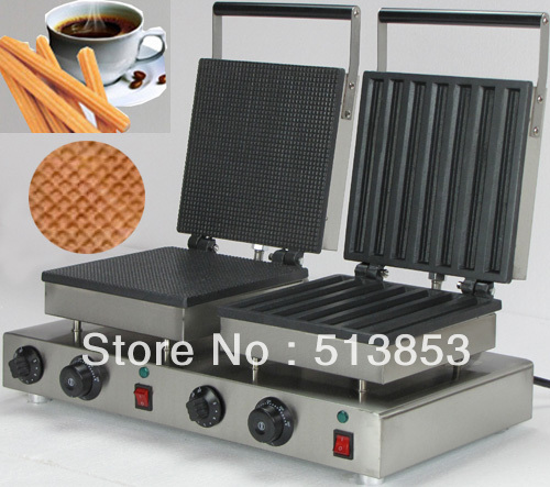 Doulbe-Head Electric Churros & Ice Cone Waffle Maker Machine Baker free shipping high quality doulbe head electric cream cone round waffle maker machine baker