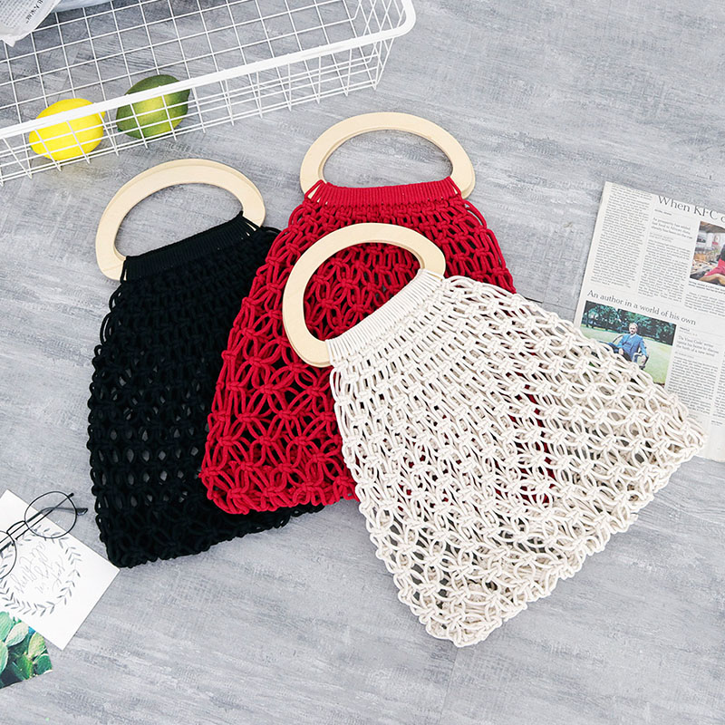 Hot Bohemian Retro Crochet Bag Handmade Mesh Hollow Handbag Wooden