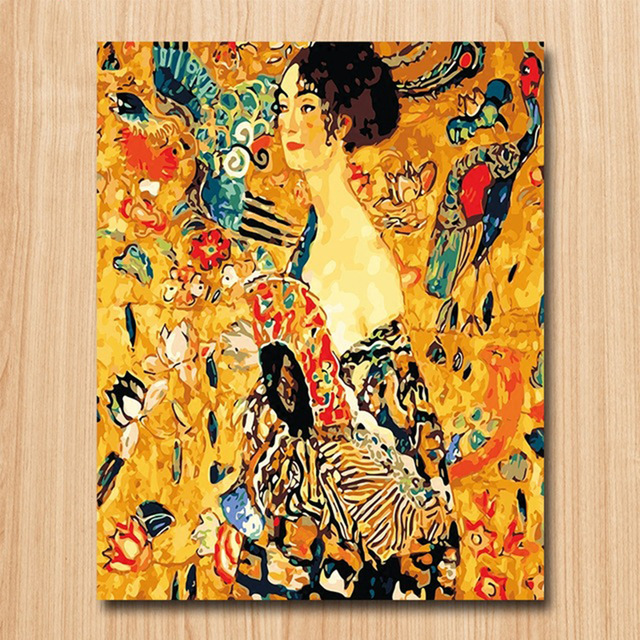 Gustav Klimt Wanita Dengan Kipas Angin Diy Digital Lukisan Lukisan