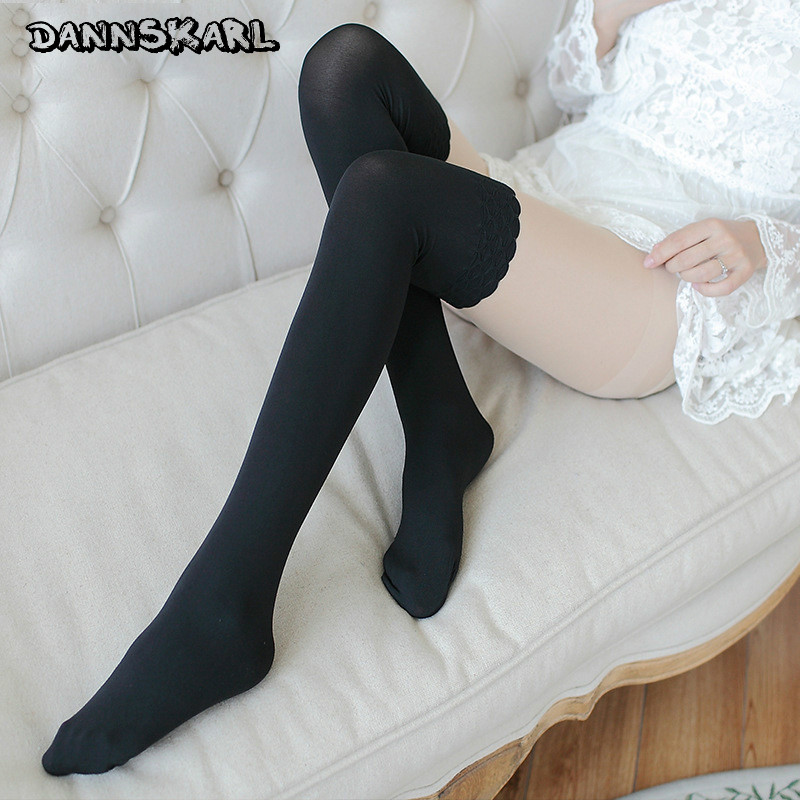 2018 New Sexy Women Silk Stockings Velvet Women Tights Japanese Style Hosiery Nylon Women Pantyhose Lace Autumn Tights For Woman