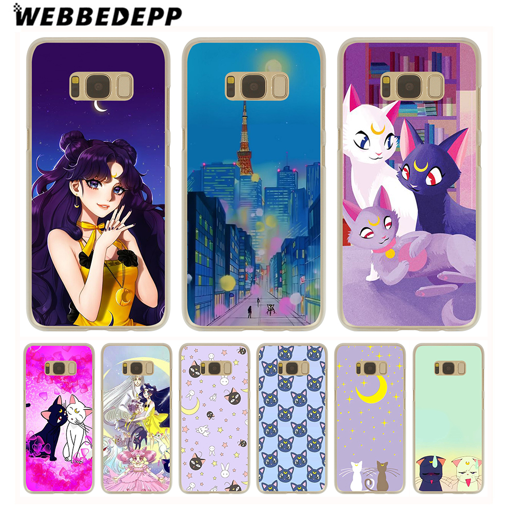 Dutiful Webbedepp Sailor Moon Luna And Arthemis Hard Transparent Phone Case For Galaxy S6 S7 Edge S9 S8 S10e Plus S5 S4 S3 Cover Cellphones & Telecommunications Half-wrapped Case