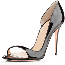Summer womens sandals fashion side stiletto high quality patent leather open toe female