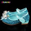 Свадебная обувь для девочек; детская обувь для вечеринки; модная кожаная обувь принцессы с кристаллами для девочек; брендовые Детские туфли...