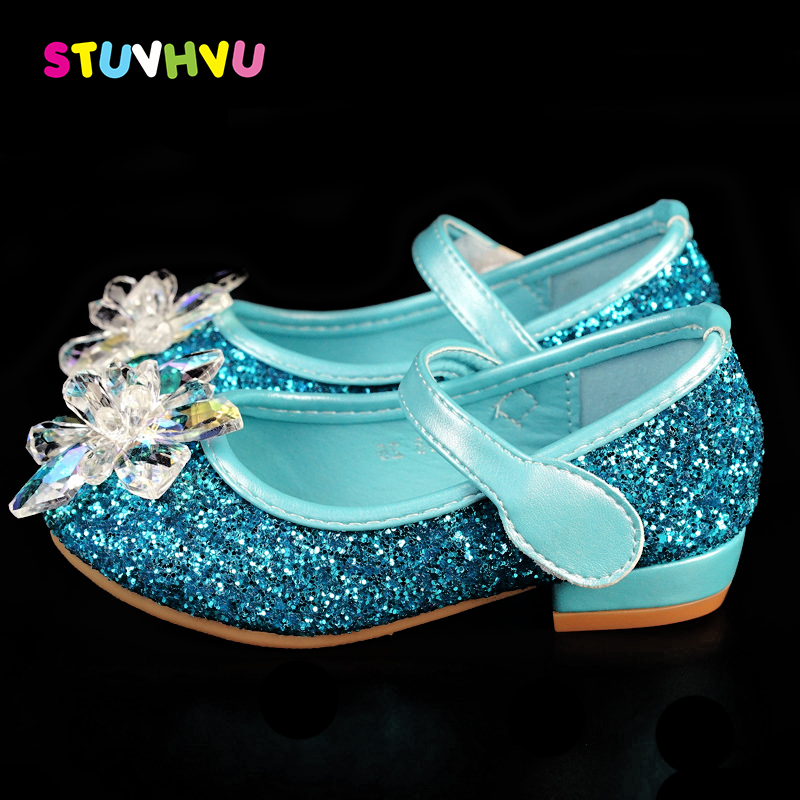 Wedding shoes for girls child party shoes fashion girl leather crystal Princess shoes brand kids rhinestone dance height heels