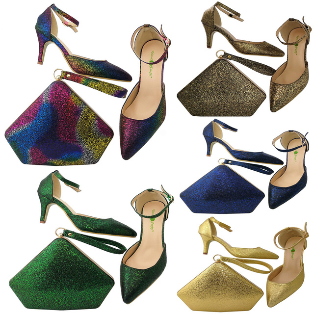 50f3fba786fd 3 inches low heel shoes matching lovely triangle clutches bag set for  african aso ebi party italian shoes and bag set SB8058