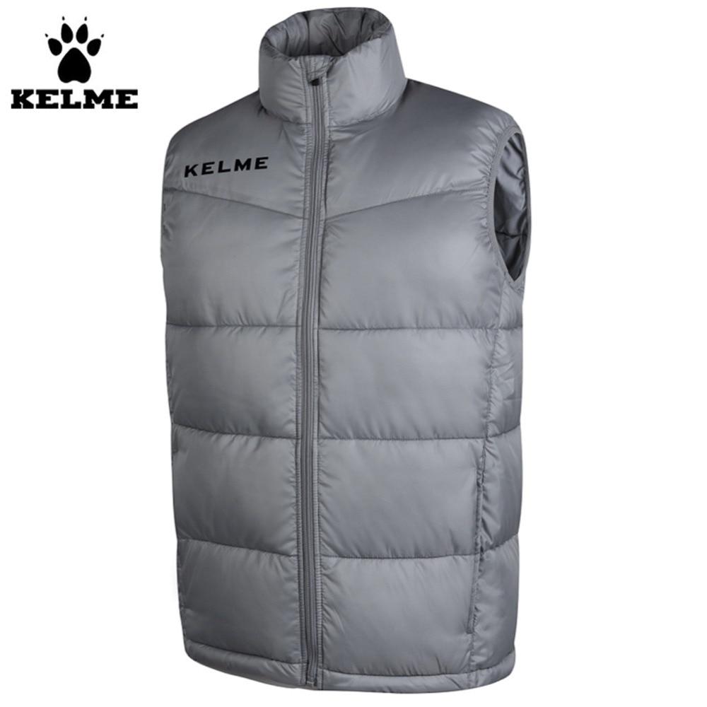 ФОТО Kelme K15P022 Fall/Winter Men High Imitation Down Cotton Vest Grey