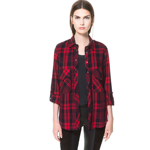 Nanafast 2016 New Cotton Women Blouses Sexy Casual Full Sleeve Lapel  Plaid  2Pockets In Front Shirt   For Street Traveling S-L
