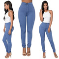 Women Sexy Solid Pants Female High Wasit Skinny Thin Pencil Pants Candy Color Stretchy Tight Jeans Denim Pants YF233