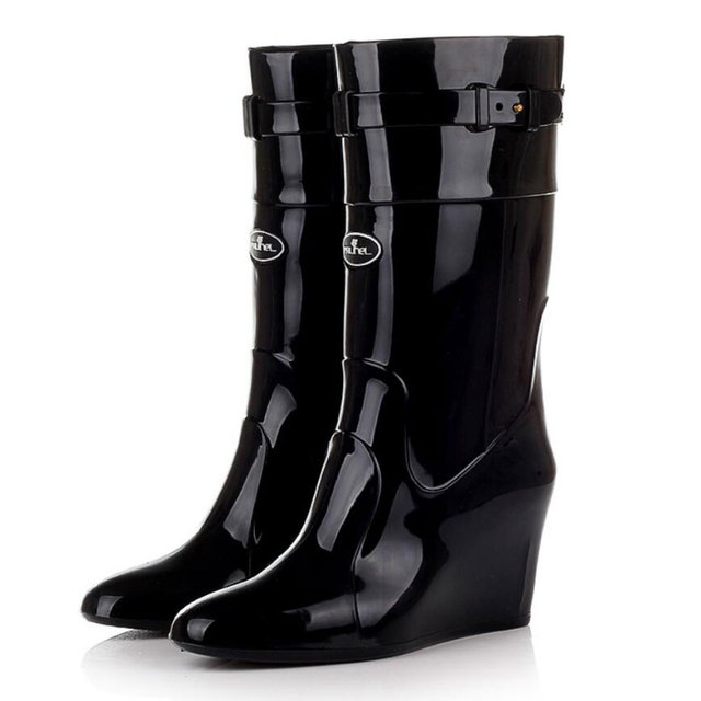 2cc75067fb57 Rubber Shoes Women Rain Boots Girls Ladies Wedge Heels PVC Shoe Waterproof  Fashion Black Boots Mid-Calf Woman Rainboots